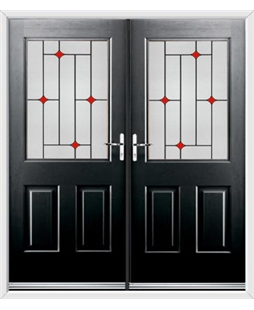 Windsor French Rockdoor in Onyx Black with Red Diamonds