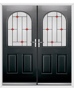 Kentucky French Rockdoor in Onyx Black with Red Diamonds