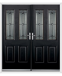 Jacobean French Rockdoor in Onyx Black with Scorpio