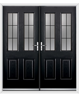 Jacobean French Rockdoor in Onyx Black with Square Lead