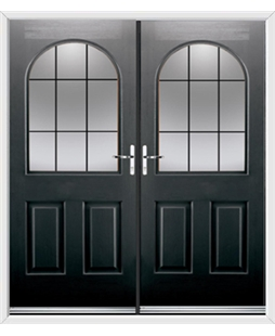 Kentucky French Rockdoor in Onyx Black with Square Lead
