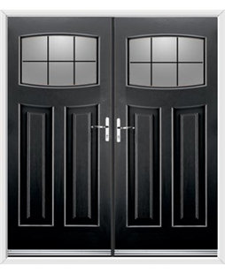 Newark French Rockdoor in Onyx Black with Square Lead