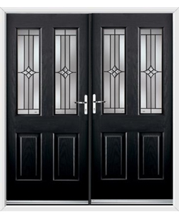 Jacobean French Rockdoor in Onyx Black with Summit
