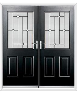 Windsor French Rockdoor in Onyx Black with White Diamonds