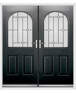 Kentucky French Rockdoor in Onyx Black with White Diamonds