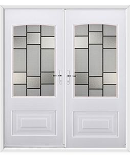 Portland French Rockdoor in White with Horizon