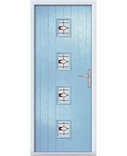 The Uttoxeter Composite Door in Blue (Duck Egg) with Barcelona Red