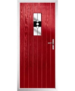The Taunton Composite Door in Red with Black Crystal Bohemia