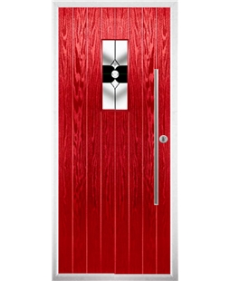 The Zetland Composite Door in Red with Black Crystal Bohemia
