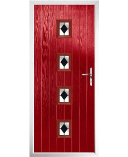 The Uttoxeter Composite Door in Red with Black Diamonds
