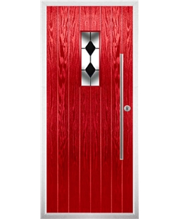 The Zetland Composite Door in Red with Black Diamonds