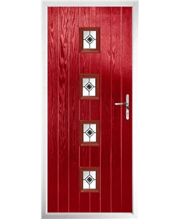 The Uttoxeter Composite Door in Red with Black Fusion Ellipse