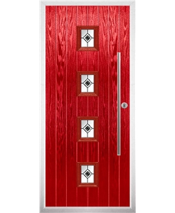 The Leicester Composite Door in Red with Black Fusion Ellipse