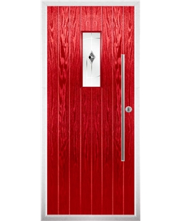 The Zetland Composite Door in Red with Black Murano