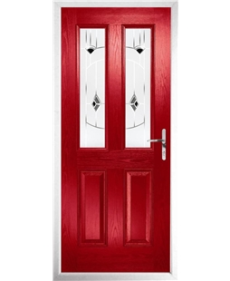 The Cardiff Composite Door in Red with Black Murano