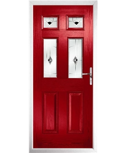 The Oxford Composite Door in Red with Black Murano