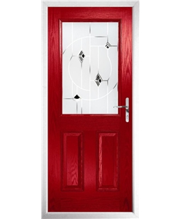 The Farnborough Composite Door in Red with Black Murano