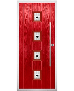 The Leicester Composite Door in Red with Black Murano
