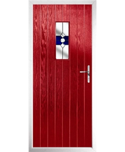 The Taunton Composite Door in Red with Blue Crystal Bohemia