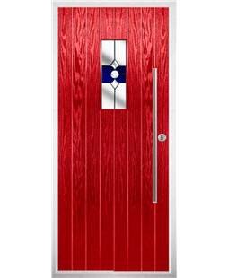 The Zetland Composite Door in Red with Blue Crystal Bohemia