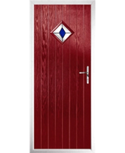 The Reading Composite Door in Red with Blue Diamond