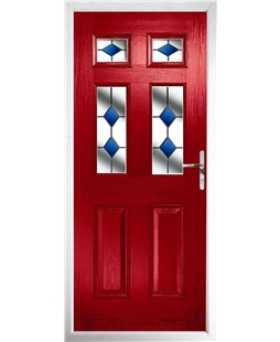 The Oxford Composite Door in Red with Blue Diamonds