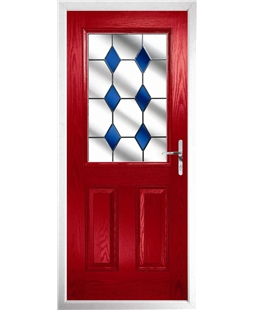 The Farnborough Composite Door in Red with Blue Diamonds