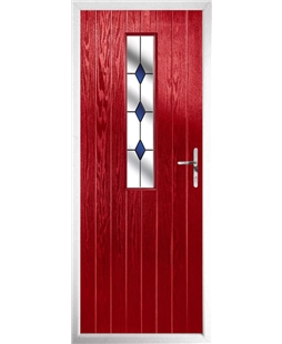 The Sheffield Composite Door in Red with Blue Diamonds