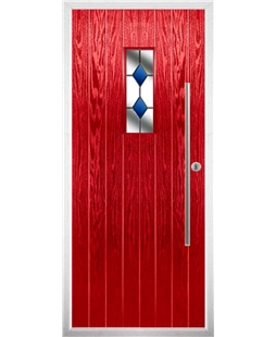 The Zetland Composite Door in Red with Blue Diamonds