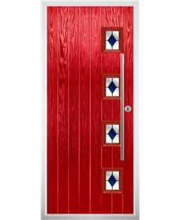 The Norwich Composite Door in Red with Blue Diamonds