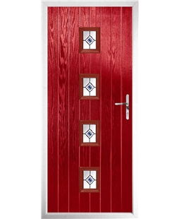 The Uttoxeter Composite Door in Red with Blue Fusion Ellipse