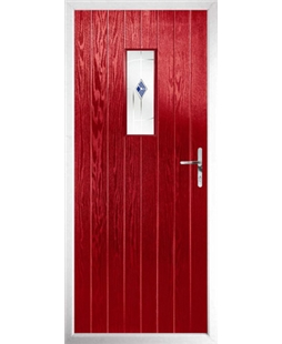 The Taunton Composite Door in Red with Blue Murano