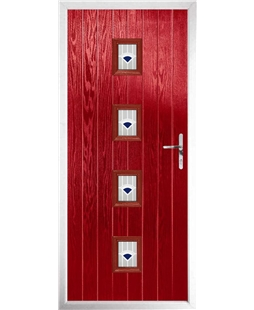 The Uttoxeter Composite Door in Red with Blue Murano