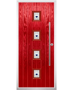 The Leicester Composite Door in Red with Blue Murano