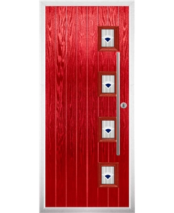 The Norwich Composite Door in Red with Blue Murano
