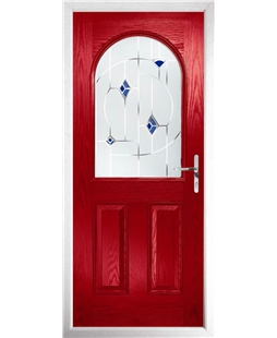 The Edinburgh Composite Door in Red with Blue Murano