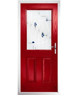 The Farnborough Composite Door in Red with Blue Murano