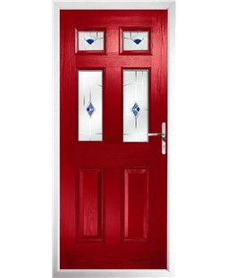 The Oxford Composite Door in Red with Blue Murano