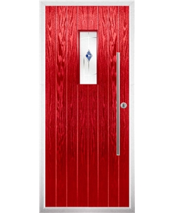 The Zetland Composite Door in Red with Blue Murano