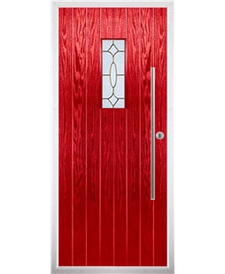 The Zetland Composite Door in Red with Brass Art Clarity