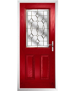 The Farnborough Composite Door in Red with Brass Art Clarity
