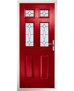 The Oxford Composite Door in Red with Brass Art Clarity