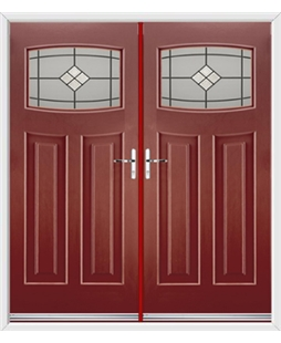 Newark French Rockdoor in Ruby Red with Bright Star Glazing