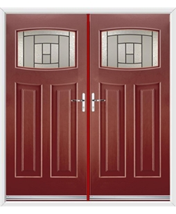 Newark French Rockdoor in Ruby Red with Citadel Glazing