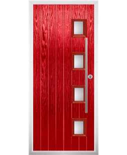 The Norwich Composite Door in Red with Glazing