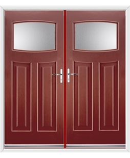 Newark French Rockdoor in Ruby Red with Glazing