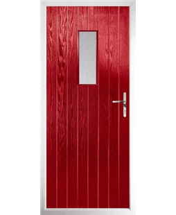 The Taunton Composite Door in Red with Glazing