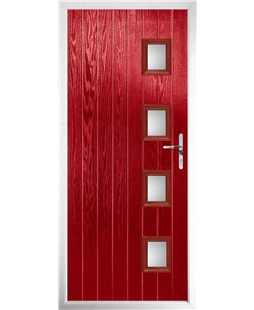 The Preston Composite Door in Red with Clear Glazing