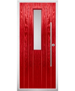The York Composite Door in Red with Clear Glazing