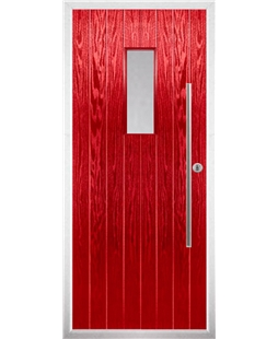 The Zetland Composite Door in Red with Clear Glazing
